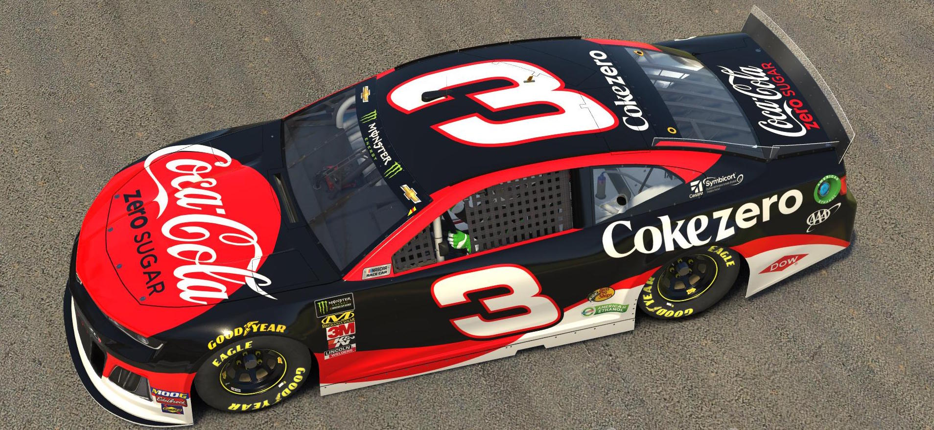 Austin Dillon's Coca-Cola 600 paint scheme is replicated on iRacing.