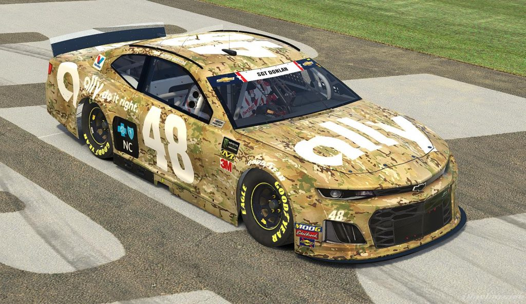 Jimmie Johnson will run the camo-covered paint scheme in Sunday's Coca-Cola 600.