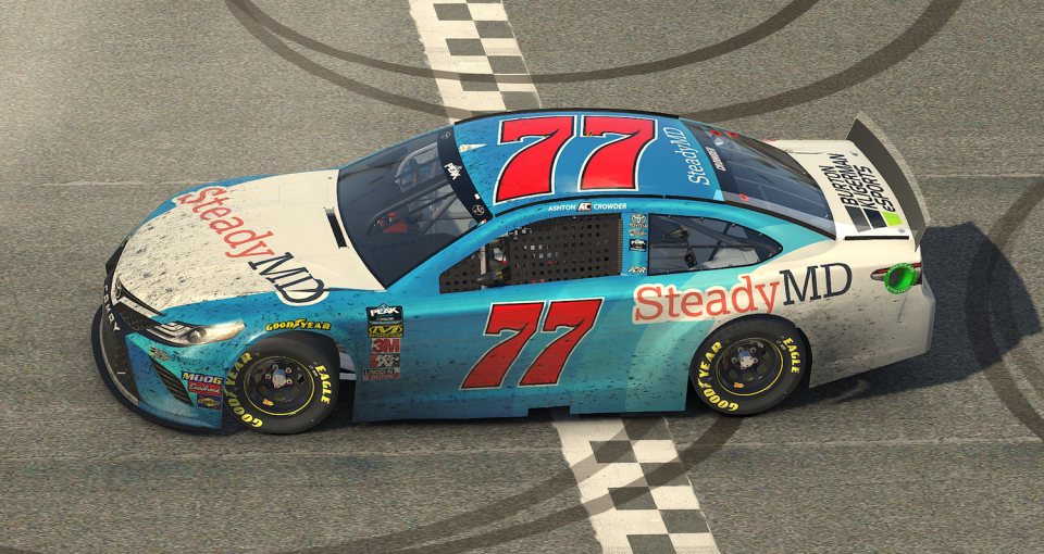 Ashton Crowder (77) celebrated his first eNASCAR PEAK Antifreeze iRacing Series win on Tuesday night at Darlington Raceway.